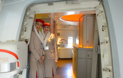 Emirates crew members Royalty Free Stock Photography