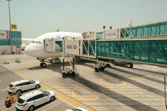 Emirates A380-800 docked in Airport Stock Photos