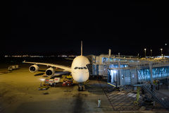Emirates A380-800 docked in Airport Stock Photo