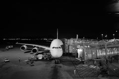 Emirates A380-800 docked in Airport Royalty Free Stock Images