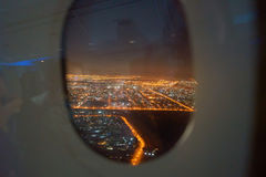 Emirates A380. DUBAI, UAE - CIRCA NOVEMBER 2016: view of Dubai from Emirates A380 at night Stock Photo