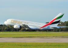 emirates för flygbuss a380 Fotografering för Bildbyråer