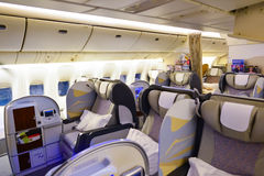 Emirates first class Boeing-777 interior Stock Images