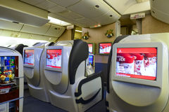 Emirates first class Boeing-777 interior Royalty Free Stock Images