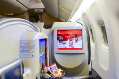 Emirates first class Boeing-777 interior Royalty Free Stock Photos