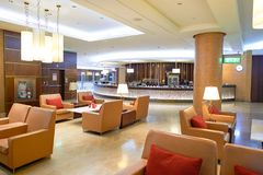 Emirates first class lounge. DUBAI, UAE - MARCH 31, 2015: interior of Emirates first class lounge. Emirates is the largest airline in the Middle East. It is an Stock Image