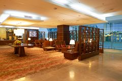Emirates first class lounge. DUBAI, UAE - MARCH 31, 2015: interior of Emirates first class lounge. Emirates is the largest airline in the Middle East. It is an Stock Photography