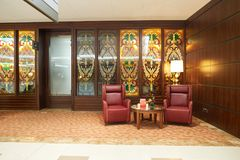 Emirates first class lounge. DUBAI, UAE - MARCH 31, 2015: interior of Emirates first class lounge. Emirates is the largest airline in the Middle East. It is an Royalty Free Stock Photography