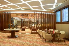 Emirates first class lounge. DUBAI, UAE - MARCH 31, 2015: interior of Emirates first class lounge. Emirates is the largest airline in the Middle East. It is an Stock Photo