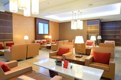 Emirates first class lounge. DUBAI, UAE - MARCH 31, 2015: interior of Emirates first class lounge. Emirates is the largest airline in the Middle East. It is an Royalty Free Stock Photo