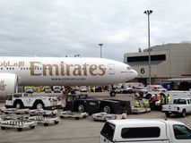 Emirates flight EK 237 under quarantine at Boston airport. Emirates flight EK 237 at Boston international airport being under suspicion of carrying a passenger Royalty Free Stock Images