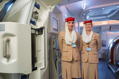 Emirates A380. HONG KONG - CIRCA NOVEMBER, 2016: Emirates crew members on board of A380. Emirates is one of two flag carriers of the UAE along with Etihad Stock Photo