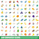 100 emirates icons set, isometric 3d style Royalty Free Stock Photography