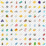 100 emirates icons set, isometric 3d style Stock Photo