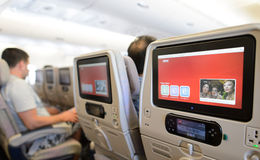 Emirates A380-800 interior Stock Photo