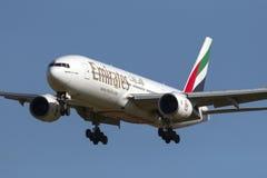 Emirates 777 landing. Luqa, Malta 12 February 2014: Emirates Boeing 777-21H/ER arriving runway 31 Stock Photos