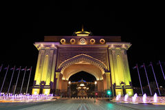Emirates Palace gate at night, Abu Dhabi Royalty Free Stock Image