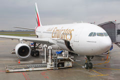 Emirates plane at the Chopin Airport in Warsaw. Royalty Free Stock Photography