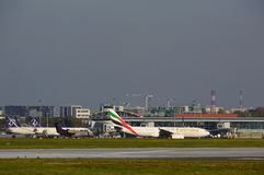 Emirates plane on the Warsaw Chopin Airport Royalty Free Stock Image