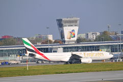 Emirates plane on the Warsaw Chopin Airport Stock Image