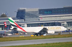 Emirates plane on the Warsaw Chopin Airport Royalty Free Stock Photo