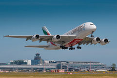 Emirates. PRAGUE, CZECH REPUBLIC - JUNE 9: Airbus A380-800 Emirates take off from PRG Airport in Prague on June 9, 2017. Emirates is an airline based in Dubai royalty free stock photo