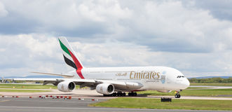 Emirates A380-861 preparing to take off at Manchester Airport Stock Images