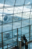 Emirates A 380 seen throw Airport Windows Royalty Free Stock Image