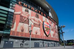Emirates Stadium del club del fútbol del arsenal en Londres imagen de archivo libre de regalías