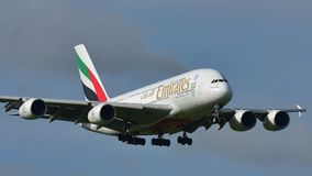 Emirates A380 super jumbo landing at Auckland International Airport Royalty Free Stock Images