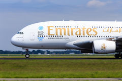 Emirates A380 takeoff Royalty Free Stock Images