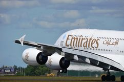 Emirates A380 taking off royalty free stock photo