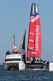 Emirates Team new Zealand. CASCAIS, PORTUGAL - AUGUST 14: America's Cup AC World Series - Fleet Race - Emirates Team - New Zealand winner in Cascais, Portugal Royalty Free Stock Photo