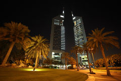 Emirates Towers and area with palms Royalty Free Stock Photo