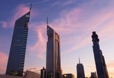 Emirates towers at dusk Stock Image