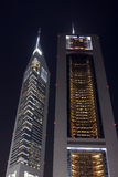 Emirates towers by night Stock Images