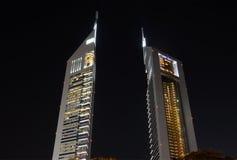 Emirates Towers at night, Dubai Stock Photo