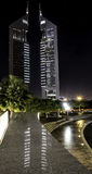 Emirates towers at night. Royalty Free Stock Photos
