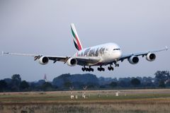 Emirates A380 `United for Wildlife` Livery plane takes off from AMS Airport, Netherlands. Emirates `United for Wildlife` Livery jumbo plane takes off from royalty free stock photo