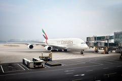 Emiratesflygbuss A380 Arkivbilder