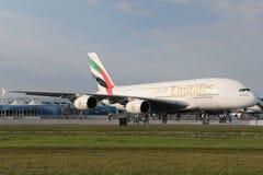 Emiratesflygbuss A380 800 Arkivfoto
