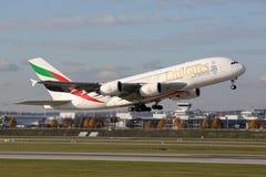 Emiratflygbuss A380 Arkivfoton