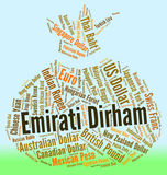 Emirati Dirham Means United Arab Emirates And Banknote Stock Photos