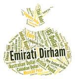 Emirati Dirham Shows United Arab Emirates And Coin Royalty Free Stock Photo