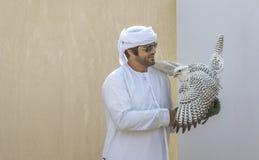 Emiratimens met zijn valk stock foto