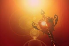 EMIRATOS ÁRABES DE DUBAI-UNITED EL 21 DE JUNIO DE 2017 La imagen con clase tiró vista del trofeo de oro filtrado del campeón, fon imagenes de archivo