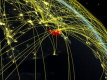 Emiratos Árabes Unidos do espaço com rede ilustração royalty free