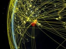 Emiratos Árabes Unidos do espaço com rede ilustração do vetor
