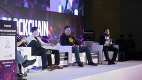 Emiratos Árabes Unidos, Dubai - 24 de outubro de 2017: Ideias da reunião de negócios e das conferências Comparecimento do grupo d filme