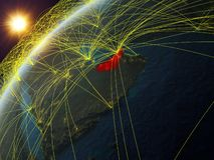 Emiratos Árabes Unidos na terra com rede ilustração do vetor